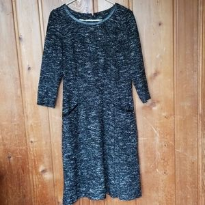 Talbot's Tweed 3/4 sleeve dress with faux leather
